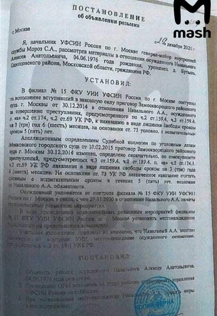 Медиа: Навальный находится в розыске с декабря прошлого года